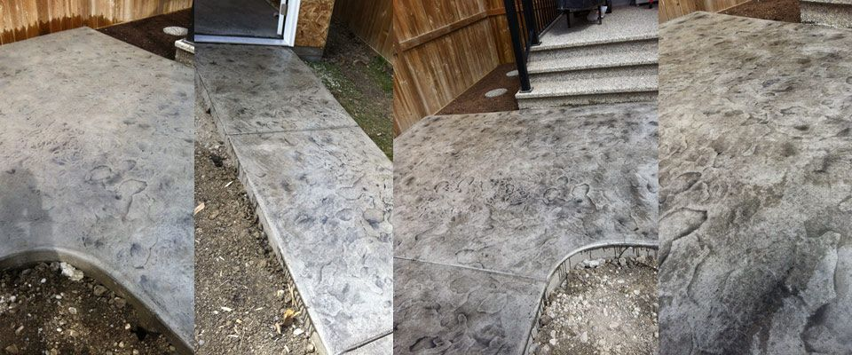 stamped cement pathway