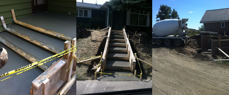 cement steps and mixer