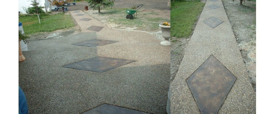 cement with diamond pattern