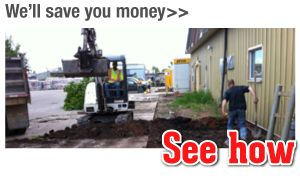 We'll save you money>> See how, excavator
